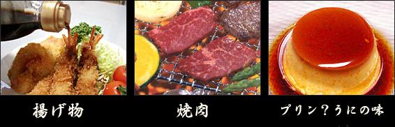 揚げ物や焼き肉、プリン(?)などにかけると…。